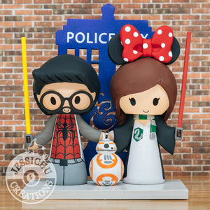 Spiderman and Slytherin Witch Wedding Cake Topper | Marvel x Harry Potter x Dr Who Tardis x Star Wars Lightsabers x BB8 | Jessichu Creations