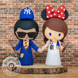 NY Yankees Gryffindor Groom & Nurse Ravenclaw Harry Potter Inspired Custom Handmade Wedding Cake Topper Figurines | MLB x HP | Jessichu Creations
