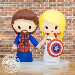 Spiderman and Gryffindor Captain America Wedding Cake Topper | Marvel x Harry Potter | Jessichu Creations