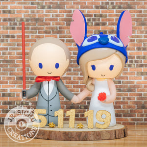 Jedi and Stitch - Lilo and Stitch Wedding Cake Topper | Disney x Star Wars | Jessichu Creations.