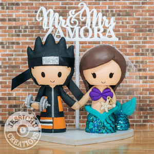 Naruto and Ariel Wedding Cake Topper | Naruto x Little Mermaid x Disney | Jessichu Creations