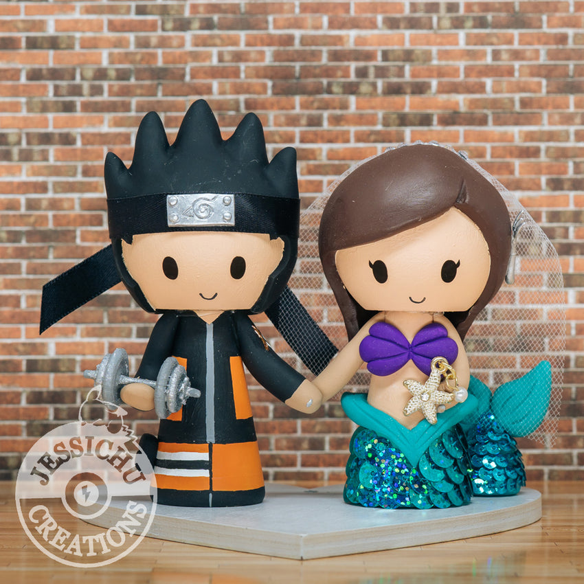 Naruto and Ariel Wedding Cake Topper | Naruto x Little Mermaid x Disney | Jessichu Creations Naruto and Ariel Wedding Cake Topper | Naruto x Little Mermaid x Disney | Jessichu Creations