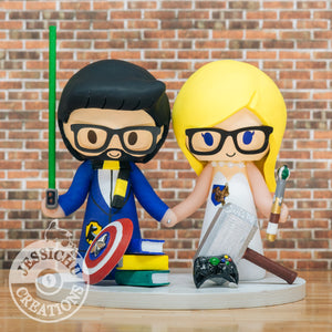 Harry Potter Couple with Geeky Accessories Wedding Cake Topper | Dr Who x Marvel x Star Wars x HP | Jessichu Creations