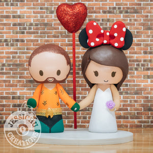 Aquaman Groom & Minnie Mouse Bride - DC x Disney Inspired Wedding Cake Topper | Wedding Cake Toppers | Cake Topper Gallery | Jessichu Creations