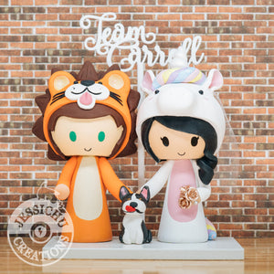 Lion & Unicorn Onesies | Custom Handmade Wedding Cake Topper Figurines | Jessichu Creations