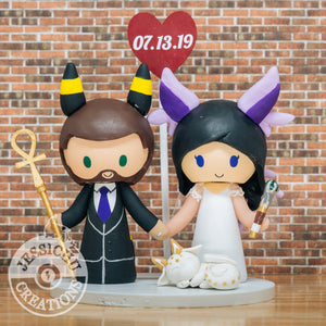 Umbreon & Espeon with Pet Dragon | Nintendo Pokemon | Custom Handmade Wedding Cake Topper Figurines | Jessichu Creations