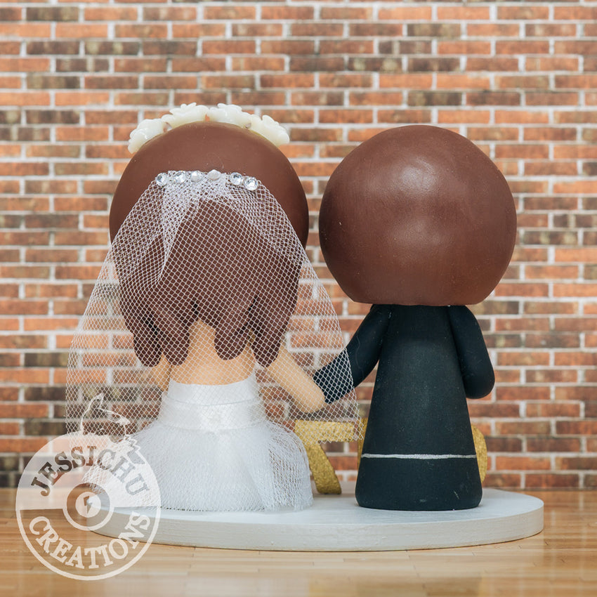 Cute Couple with Wooden Date Sign Custom Wedding Cake Topper Figurines | Wedding Cake Toppers | Cake Topper Gallery | Jessichu Creations