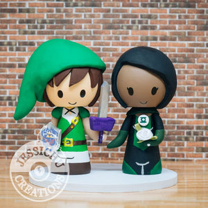 Link and Green Lantern Wedding Cake Topper | Nintendo Zelda x DC | Jessichu Creations
