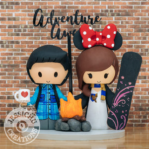 Camper Groom & Harry Potter Snowboarding Minnie Wedding Cake Topper | Disney x HP | Jessichu Creations