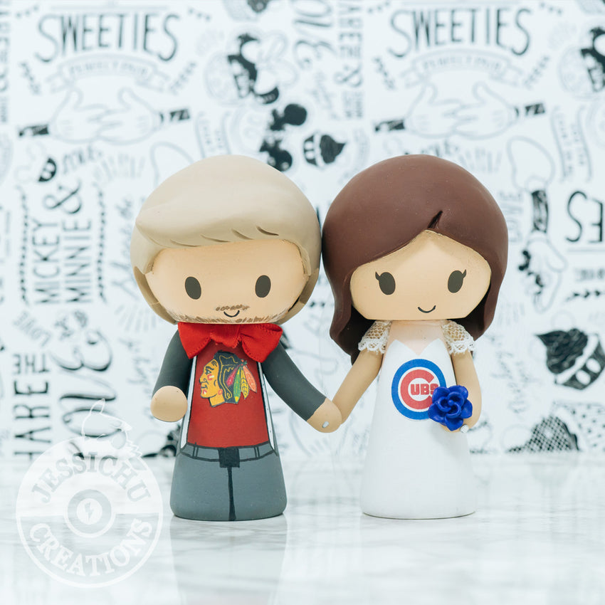Cubs and Blackhawks Sports Fan Wedding Cake Topper | Jessichu Creations