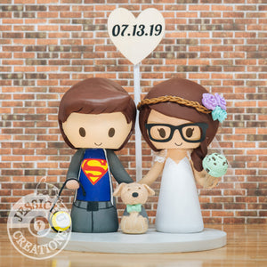 Superman & Ice Cream Lover Bride Wedding Cake Topper | DC x Justice League | Jessichu Creations