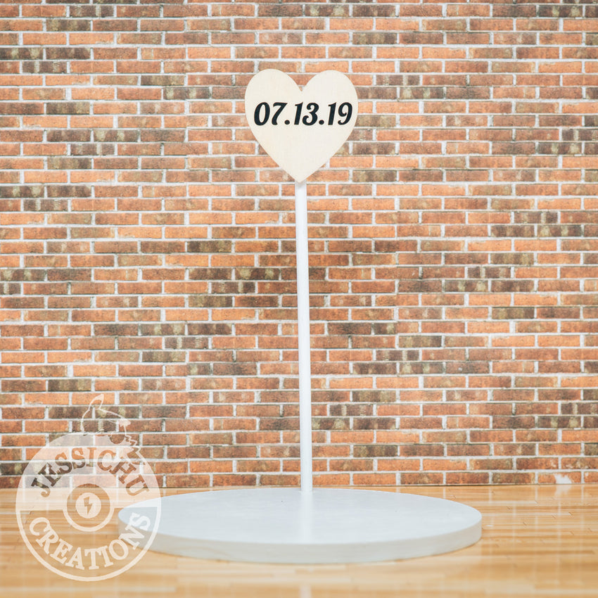 Wedding Cake Topper | Wood Heart Date Sign | Jessichu Creations