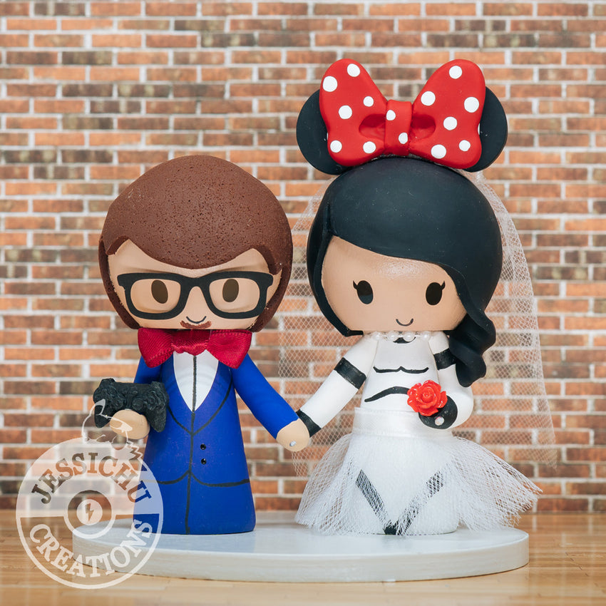 Gamer Groom and Stormtrooper Minnie Bride Wedding Cake Topper | Star Wars x Disney | Jessichu Creations