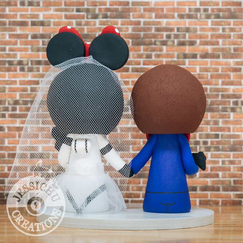 Gamer Groom & Stormtrooper Minnie Bride - Star Wars x Disney Inspired Wedding Cake Topper | Wedding Cake Toppers | Cake Topper Gallery | Jessichu Creations