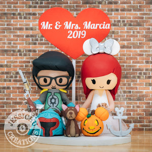 Samurai Boba Fett and Minnie Mouse | Star Wars x Disney | Wedding Cake Toppers Custom Handmade Figurine | Jessichu Creations