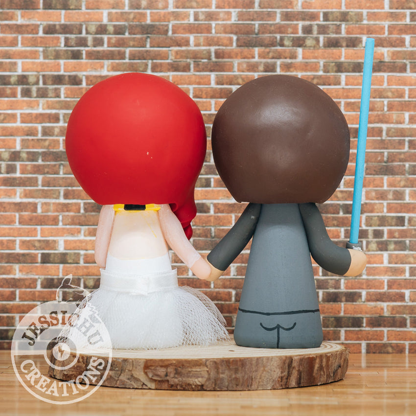 Jedi & Harry Potter Hufflepuff - Star Wars x HP Inspired Custom Wedding Cake Topper | Wedding Cake Toppers | Cake Topper Gallery | Jessichu Creations