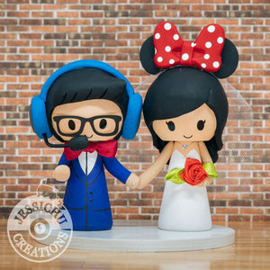 Gamer and Minnie Mouse Wedding Cake Topper | Disney | Jessichu Creations
