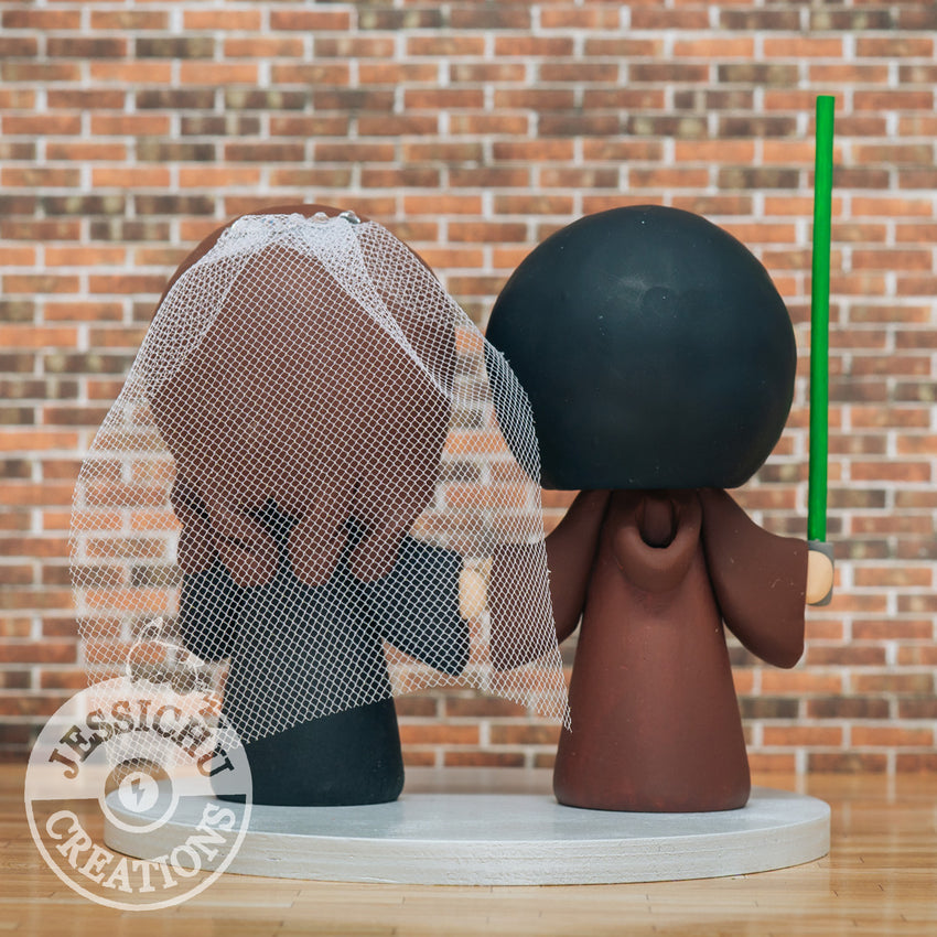 Jedi Groom & Harry Potter Gryffindor Bride - Star Wars x HP Inspired Custom Wedding Cake Topper | Wedding Cake Toppers | Cake Topper Gallery | Jessichu Creations