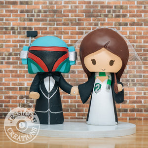 Boba Fett and Slytherin Wedding Cake Topper | Star Wars x Harry Potter | Jessichu Creations