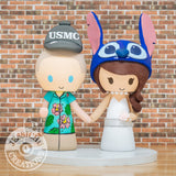 Hawaiian USMC & Stitch Wedding Cake Topper| Disney x Lilo and Stitch | Jessichu Creations