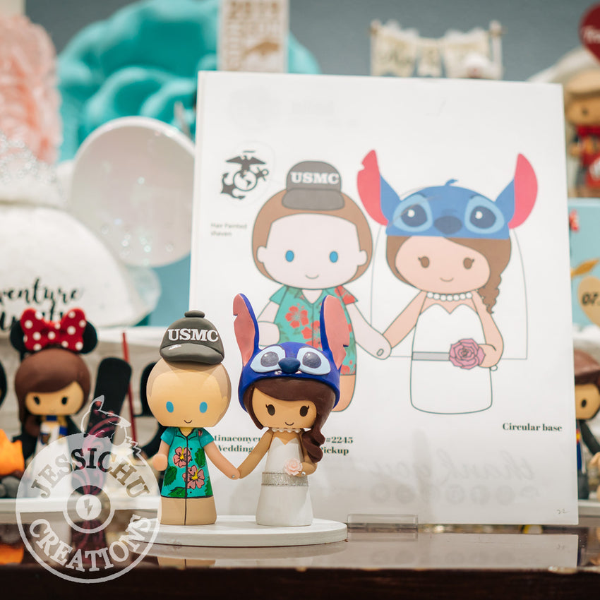 Hawaiian USMC & Stitch Wedding Cake Topper | Disney x Lilo and Stitch | Jessichu Creations