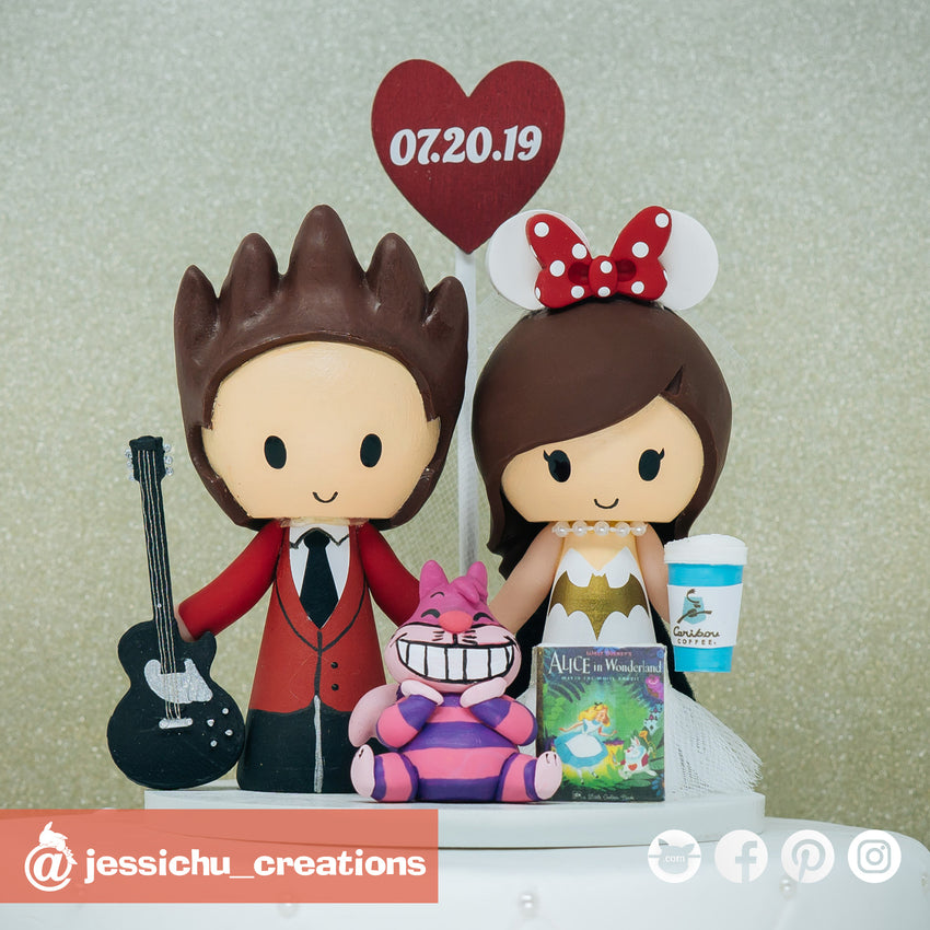 Rocker Groom & Batgirl Bride with Cheshire Cat | Disney x DC | Custom Handmade Wedding Cake Topper Figurines | Jessichu Creations