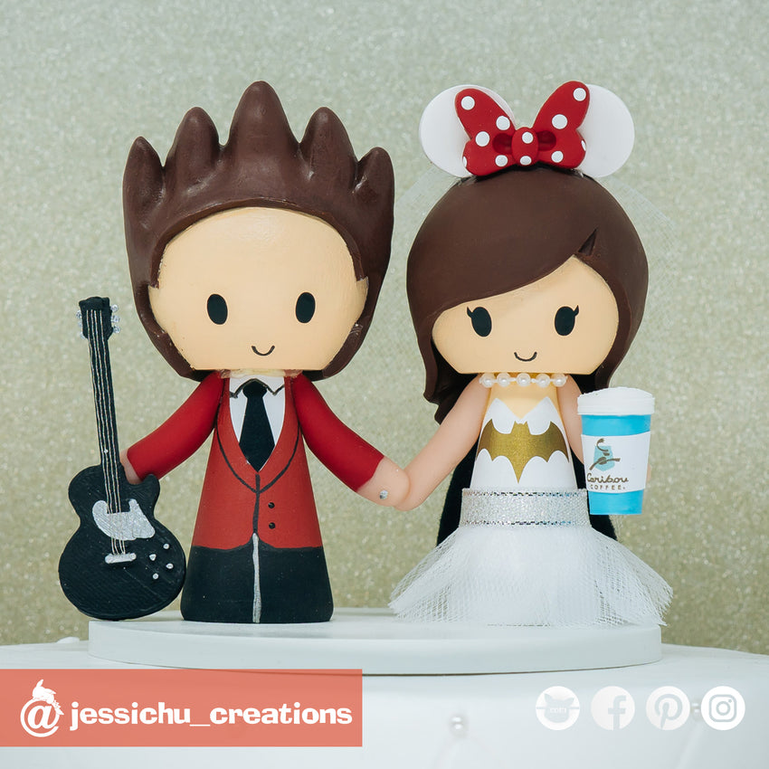 Rocker Groom & Batgirl Bride | Disney x DC | Custom Handmade Wedding Cake Topper Figurines | Jessichu Creations