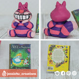 Cheshire Cat & Alice in Wonderland Book | Disney | Custom Handmade Wedding Cake Topper Figurines | Jessichu Creations