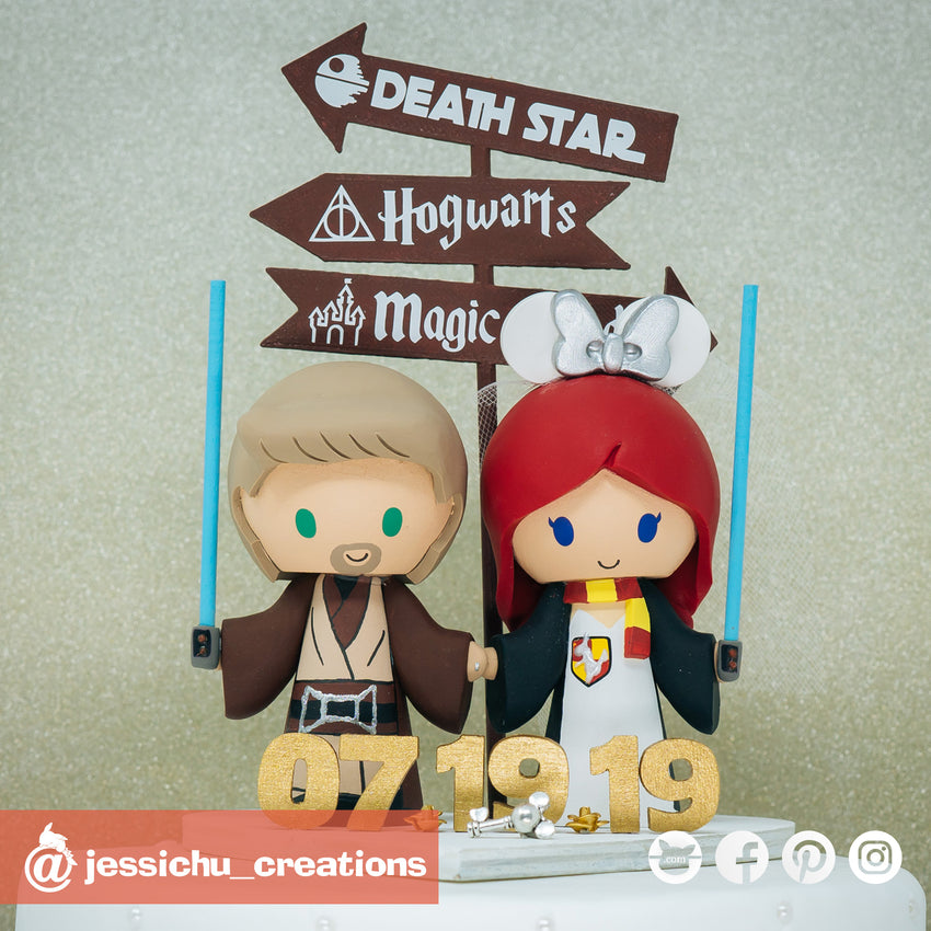 Jedi and Harry Potter | Star Wars x Harry Potter x Disney | Custom Handmade Wedding Cake Topper Figurines | Jessichu Creations