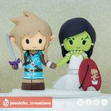 Link & Glamora | Marvel x Guardians of the Galaxy x Zelda Breath of the Wild | Custom Handmade Wedding Cake Topper Figurines | Jessichu Creations