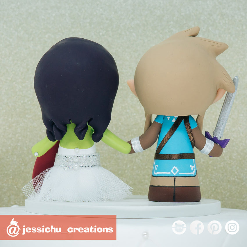 Link Groom & Glamora Bride Inspired Marvel x Guardians of the Galaxy x Zelda Breath of the Wild x Nintendo Wedding Cake Topper | Wedding Cake Toppers | Cake Topper Gallery | Jessichu Creations