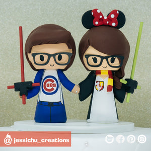 Chicago Cubs & Harry Potter Gryffindor | HP Custom Handmade Wedding Cake Topper Figurines | Jessichu Creations