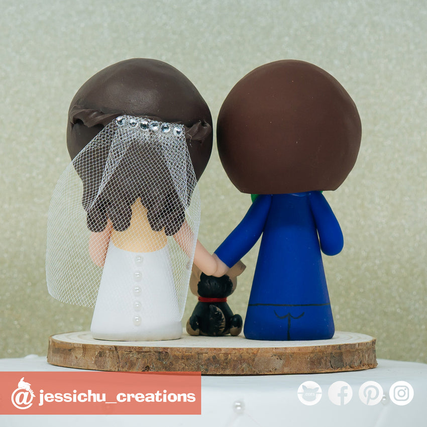Cute Bride & Groom with Pet Yorkie Custom Handmade Wedding Cake Topper Figurines | Wedding Cake Toppers | Cake Topper Gallery | Jessichu Creations