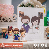 Cute Bride & Groom with Pet Yorkie | Custom Handmade Wedding Cake Topper Figurines | Jessichu Creations