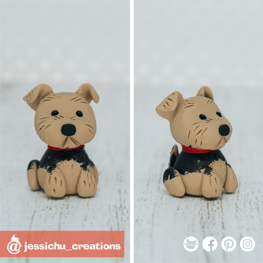 Yorkie | Pets | Custom Handmade Wedding Cake Topper Figurines | Jessichu Creations