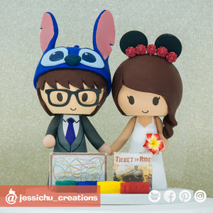 Stitch & Floral Mickey | Ticket to Ride | Disney x Lilo and Stitch | Custom Handmade Wedding Cake Topper Figurines | Jessichu Creations