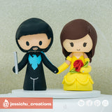 Nightwing Groom & Belle Bride | Disney x Beauty and the Beast x Batman x DC | Custom Handmade Wedding Cake Topper Figurines | Jessichu Creations