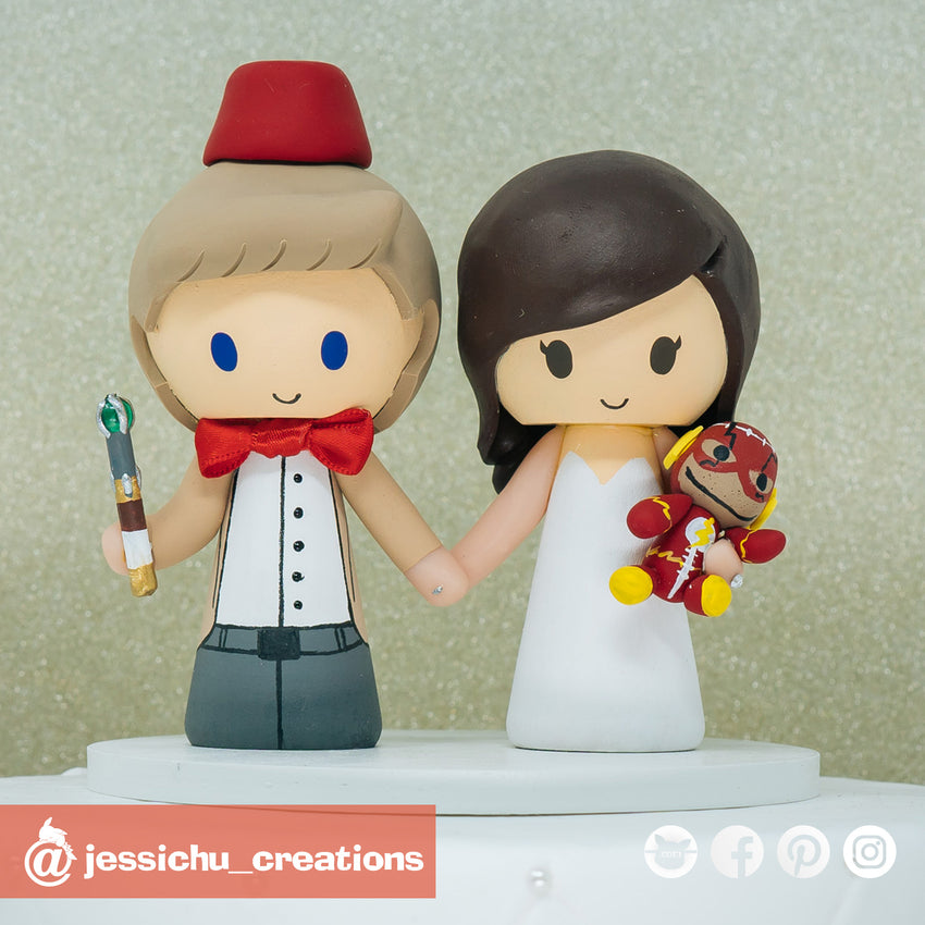 Eleventh Doctor Groom & Cute Bride | Dr. Who x Flash x DC | Custom Handmade Wedding Cake Topper Figurines | Jessichu Creations