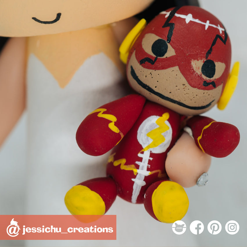 Little Big Planet Flash Sock Puppet | Flash x DC | Custom Handmade Wedding Cake Topper Figurines | Jessichu Creations