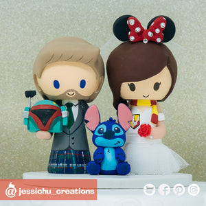 Boba Fett Scottish & HP Gryffindor Minnie Bride with Stitch | Disney x Star Wars x Harry Potter | Custom Handmade Wedding Cake Topper Figurines | Jessichu Creations