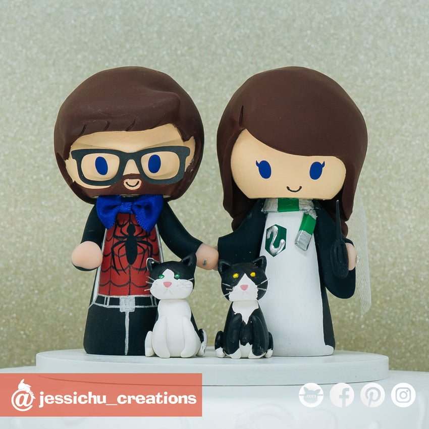 Spiderman & Harry Potter Gryffindor | Marvel x HP | Wedding Cake Topper Cake Topper | Jessichu Creations