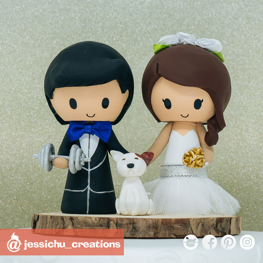 Workout Groom & Bride with Pet Dog | Custom Handmade Wedding Cake Topper | Jessichu Creations