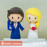 LA Dodgers & Bride with Pet Cat & Horse | Custom Handmade Wedding Cake Topper Figurines | Jessichu Creations
