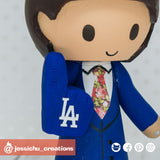 LA Dodgers Groom | Custom Handmade Wedding Cake Topper Figurines | Jessichu Creations