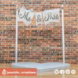 Mr & Mrs Flag | Signs | Custom Handmade Wedding Cake Topper Figurines | Jessichu Creations