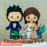 Geeky Couple | Power Rangers x Captain America x Star Wars x Harry Potter | Custom Handmade Wedding Cake Topper Figurines | Jessichu Creations