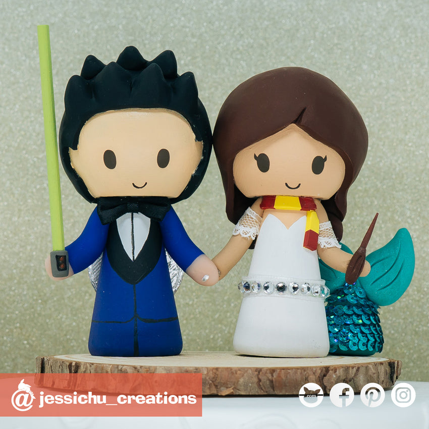 Geeky Couple | Star Wars x Harry Potter | Custom Handmade Wedding Cake Topper Figurines | Jessichu Creations