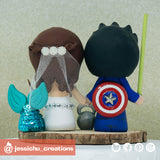 Geeky Bride & Groom Inspired Power Rangers x Captain America x Star Wars x HP Wedding Cake Topper | Wedding Cake Toppers | Cake Topper Gallery | Jessichu Creations
