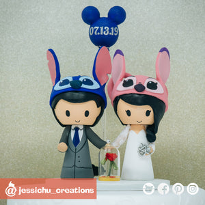 Stitch & Angel | Enchanted Rose | Disney x Lilo and Stitch x Beauty and the Beast | Custom Handmade Wedding Cake Topper Figurines | Jessichu Creations