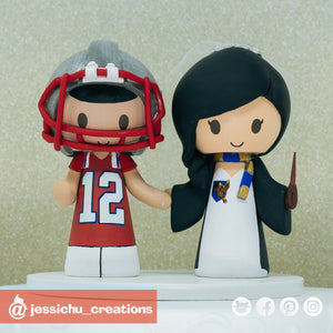 Tom Brady Patriots Fan & Harry Potter Ravenclaw | NFL x HP | Custom Handmade Wedding Cake Topper Figurines | Jessichu Creations